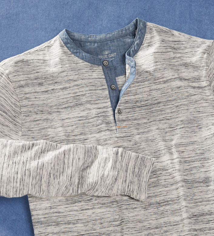 True Grit Heathered Long Sleeve Henley