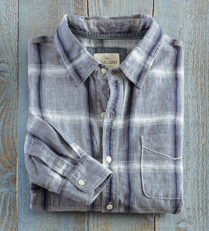 True Grit Ventura Washed Linen Blend Long Sleeve Sport Shirt