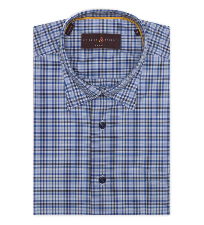 Robert Talbott Blue Check Hidden Button Down Long Sleeve Sport Shirt