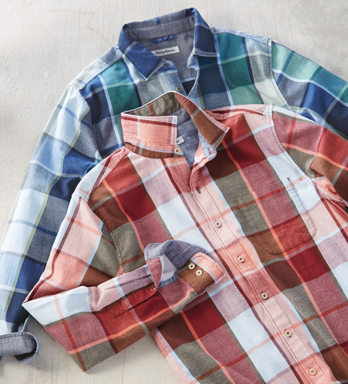 Tommy Bahama Heredia Plaid Flannel Long Sleeve Sport Shirt