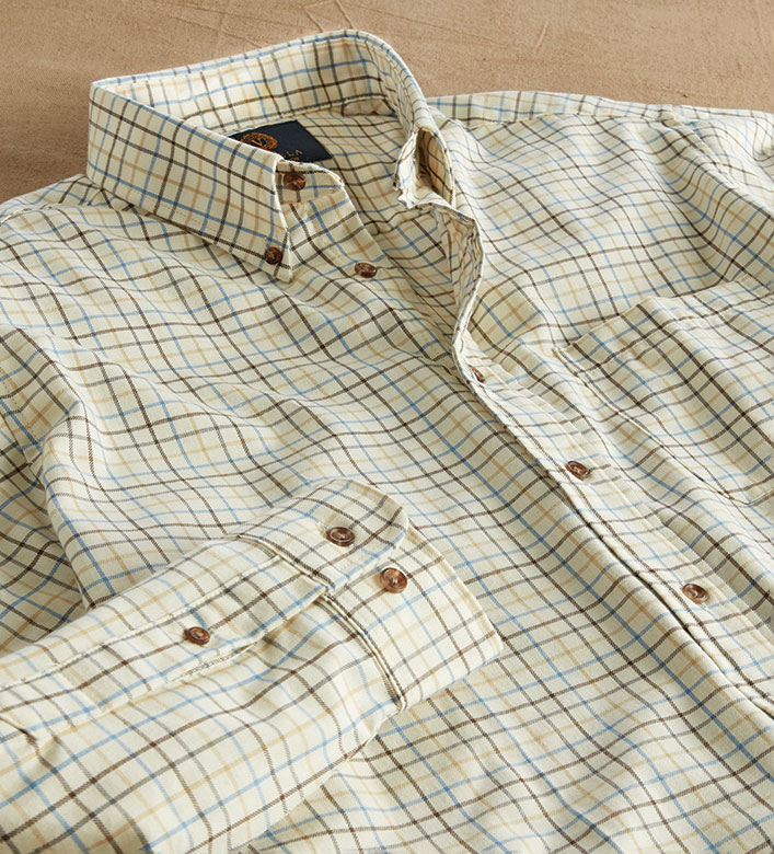 Viyella Brown Tattersall Long Sleeve Sport Shirt