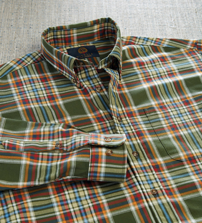 Viyella Brunswick Green Plaid Long Sleeve Sport Shirt