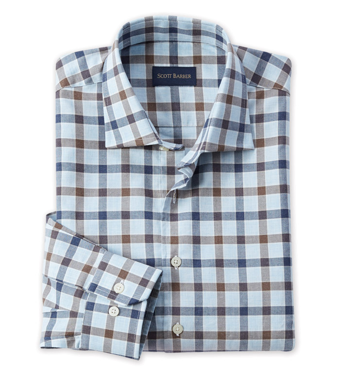 Scott Barber Long Sleeve Blue Check Sport Shirt