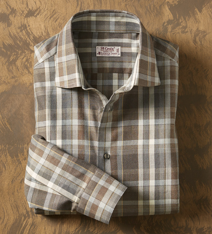 St. Croix Brushed Plaid Long Sleeve Sport Shirt