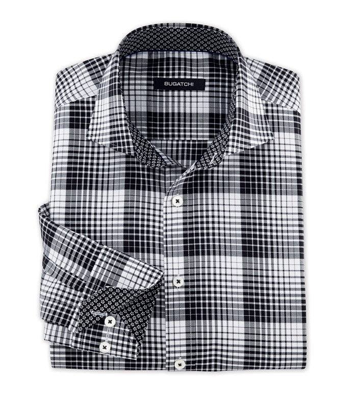 Bugatchi Uomo Black and White Plaid Long Sleeve Sport Shirt