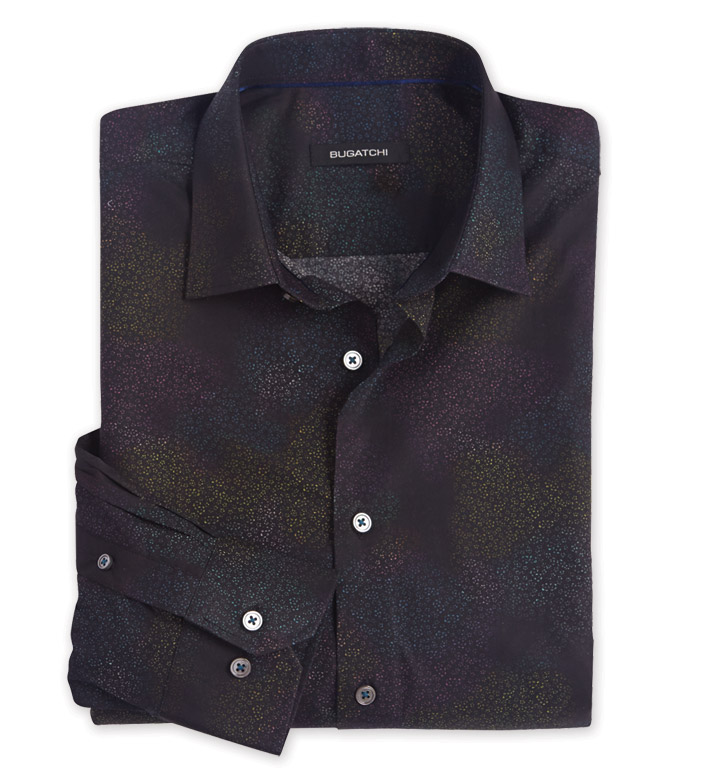 Bugatchi Uomo Space Print Long Sleeve Sport Shirt
