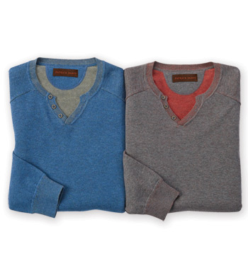 Heathered Long Sleeve Henley Shirt