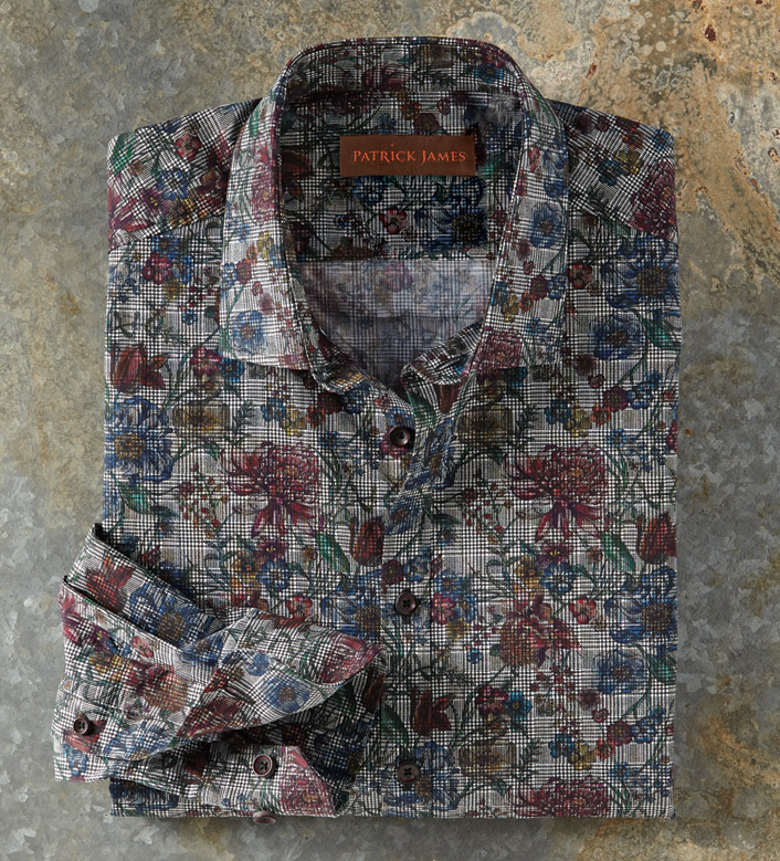 Patrick James Floral-On-Plaid Long Sleeve Sport Shirt