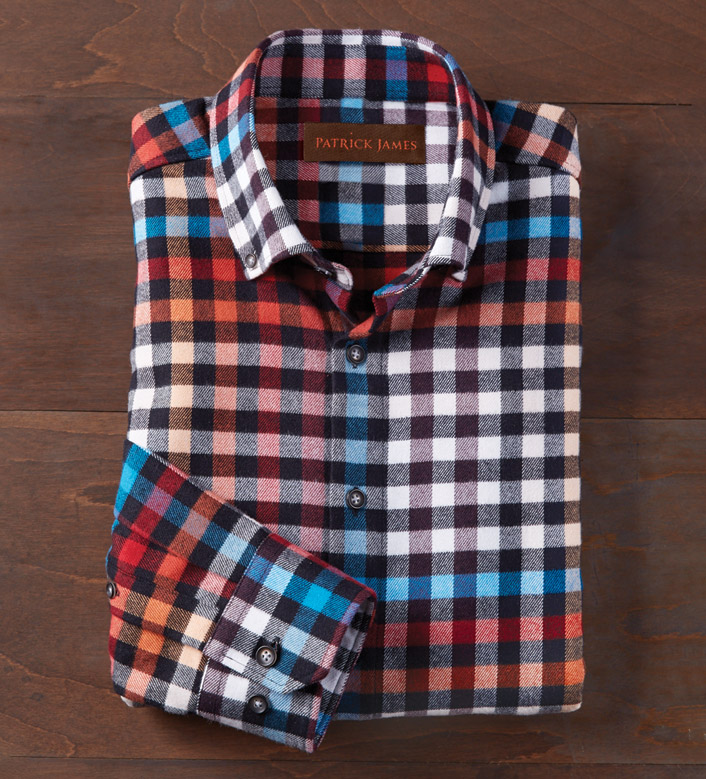 Patrick James Brushed Flannel Long Sleeve Sport Shirt