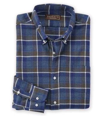 Navy Olive Flannel Long Sleeve Sport Shirt