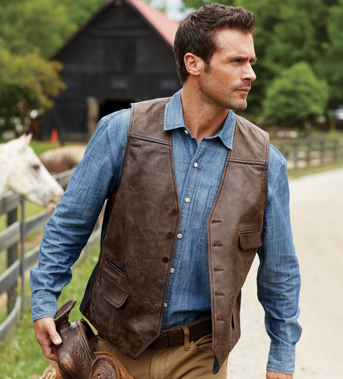 Patrick James Vintage-Style Leather Vest