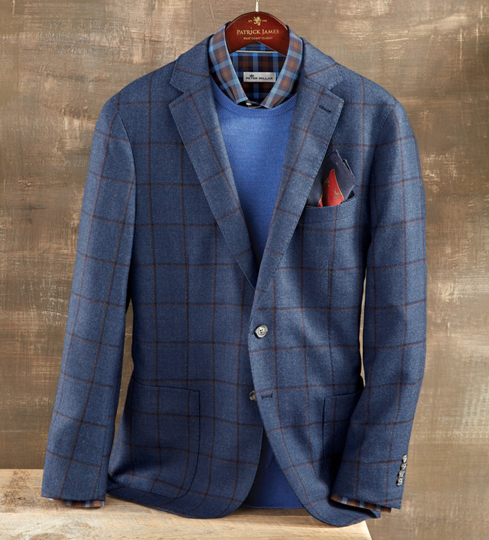 Peter Millar Navy Windowpane Soft Jacket
