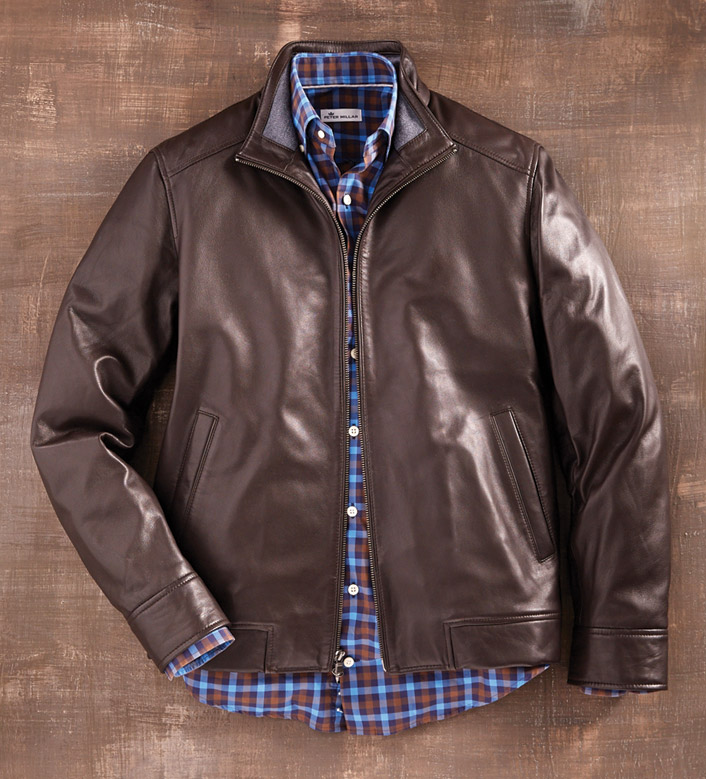 Peter Millar Lambskin Leather Bomber