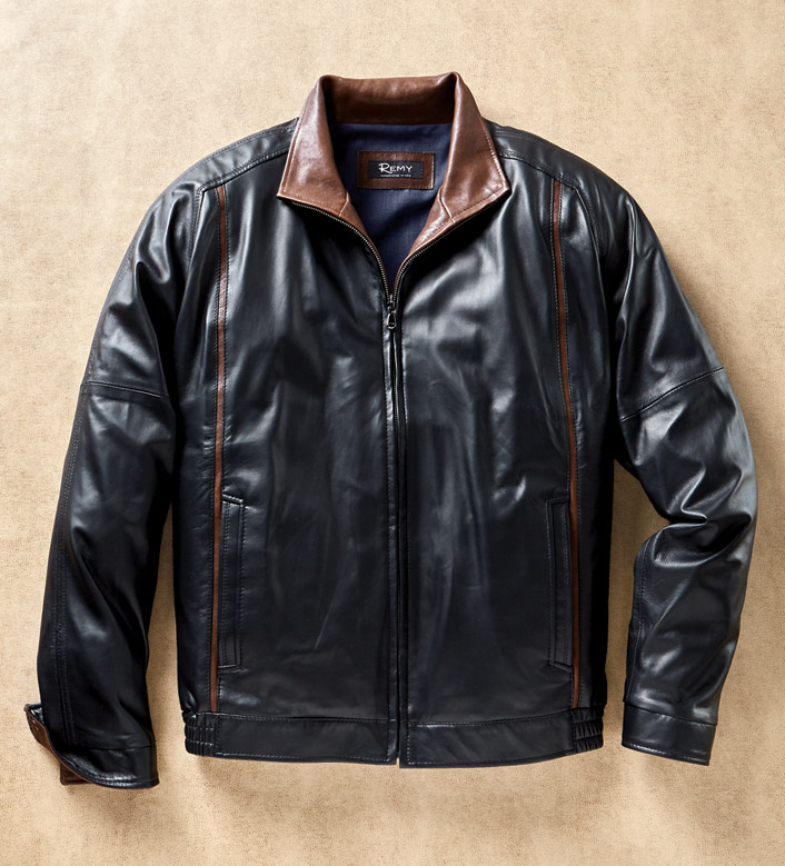 Remy Leather Noir Lambskin Bomber Jacket