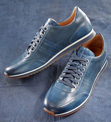 Merino Navy Leather Sneakers