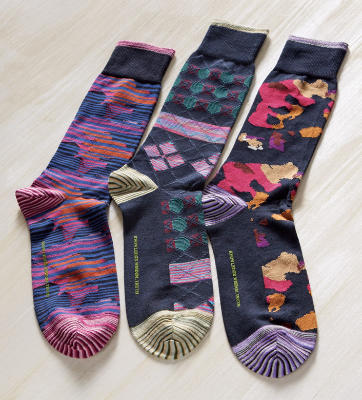 Robert Graham Navy Brehon Stripe Fashion Socks