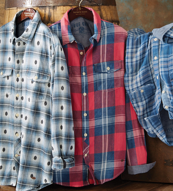 True Grit Cajon Route 66 Long Sleeve Plaid Sport Shirt