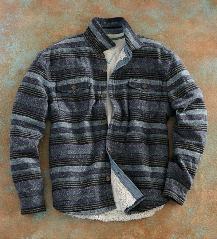 True Grit Baja Textured Stripe Shirt Jacket