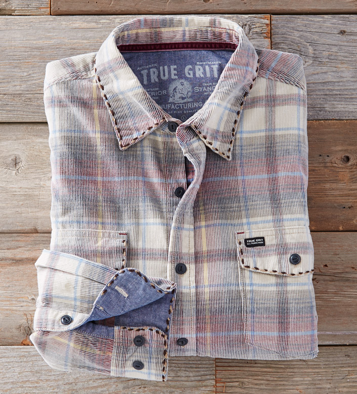 True Grit Wayfair Vintage Plaid Canyon Long Sleeve Corduroy Shirt