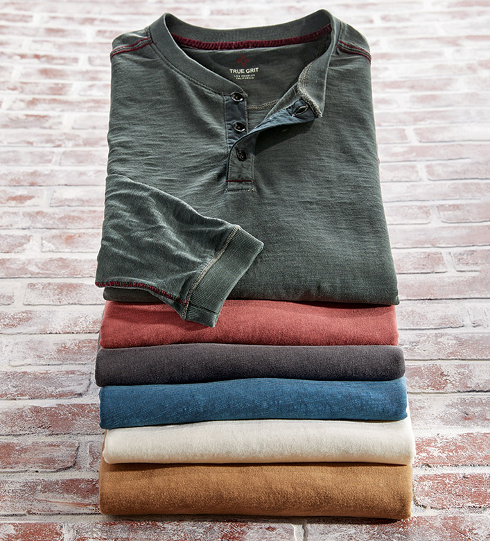 True Grit Venice Long Sleeve Henley Shirt