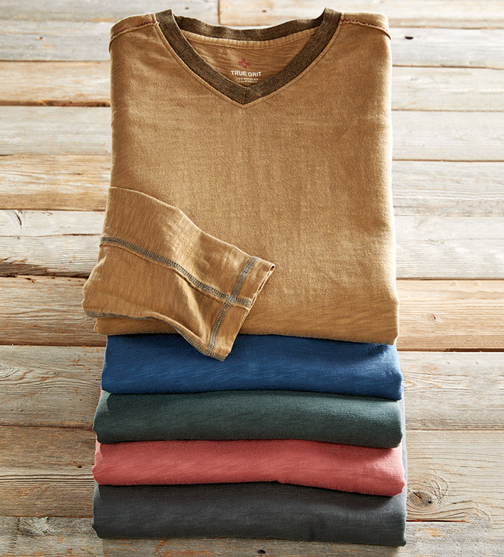 True Grit Venice Long Sleeve V-Neck Tee Shirt
