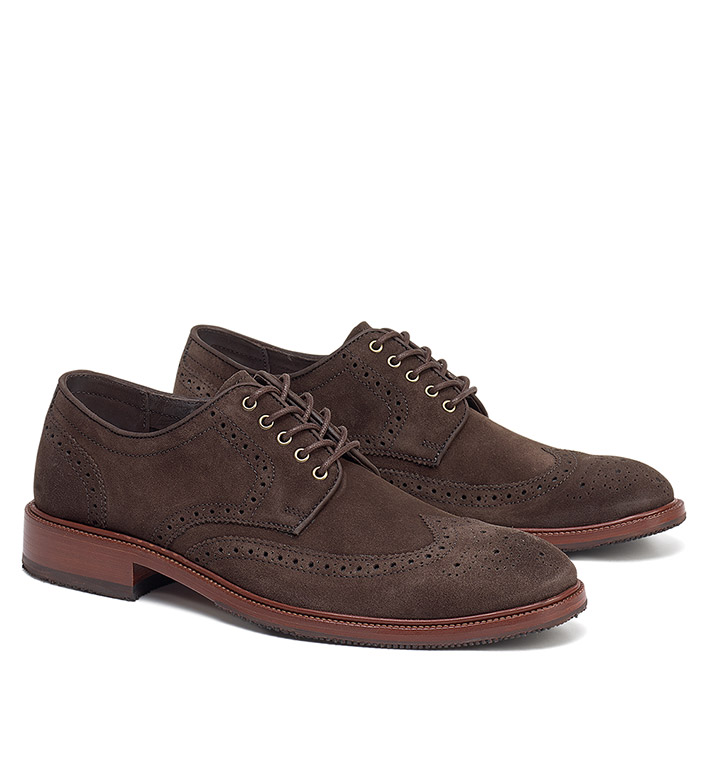 Trask Logan Charcoal Brown Suede Wingtips