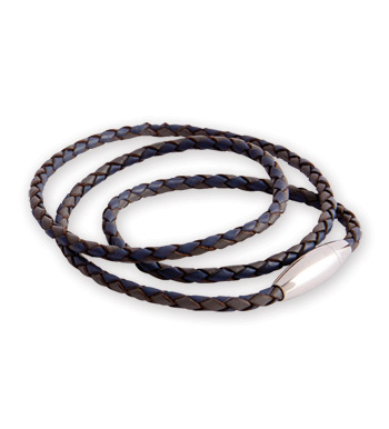 Aptos Braided Blue Leather Bracelet