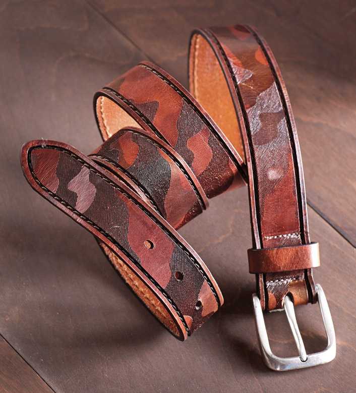 W Kleinberg Camo Leather Belt