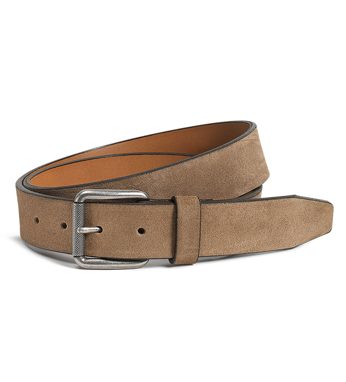Trask Cash Taupe English Suede Belt