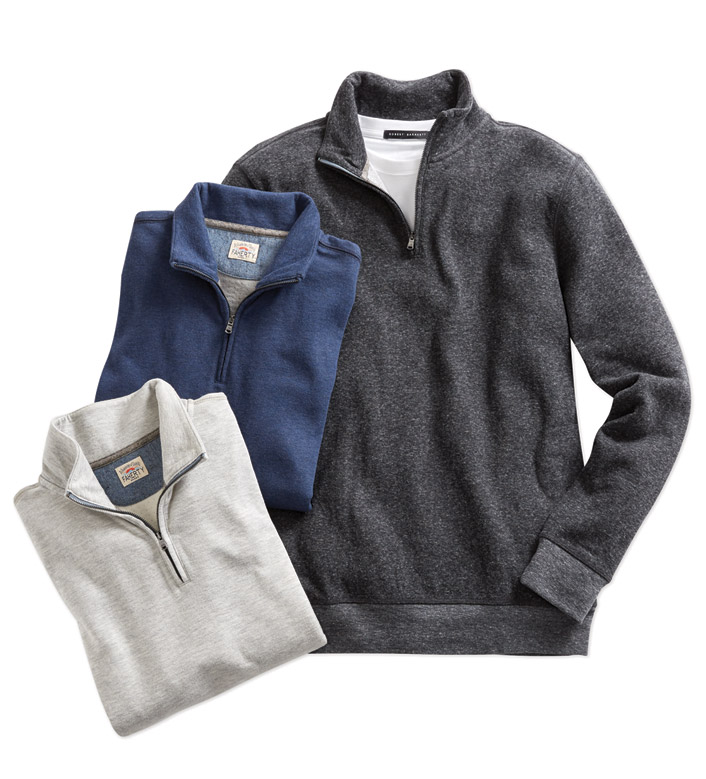 Faherty Dual Knit Quarter-Zip Pullover