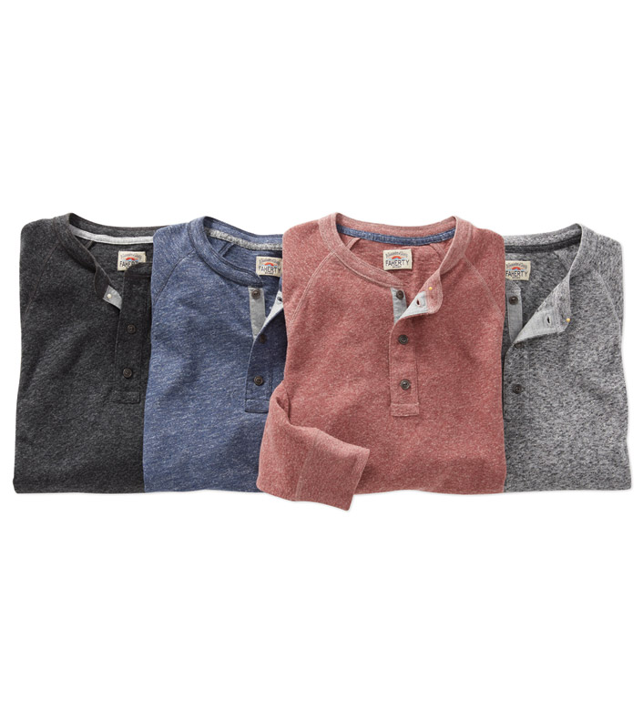 Faherty Luxe Heather Long Sleeve Henley Shirt