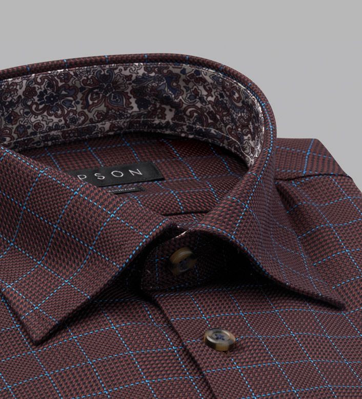 Lipson Basketweave Long Sleeve Check Sport Shirt