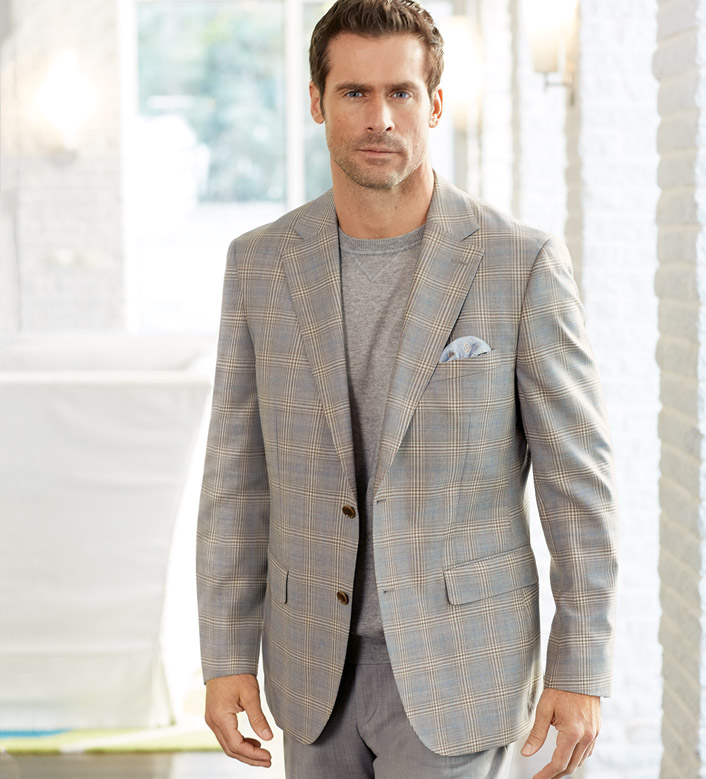 Patrick James Tan Plaid Sport Coat