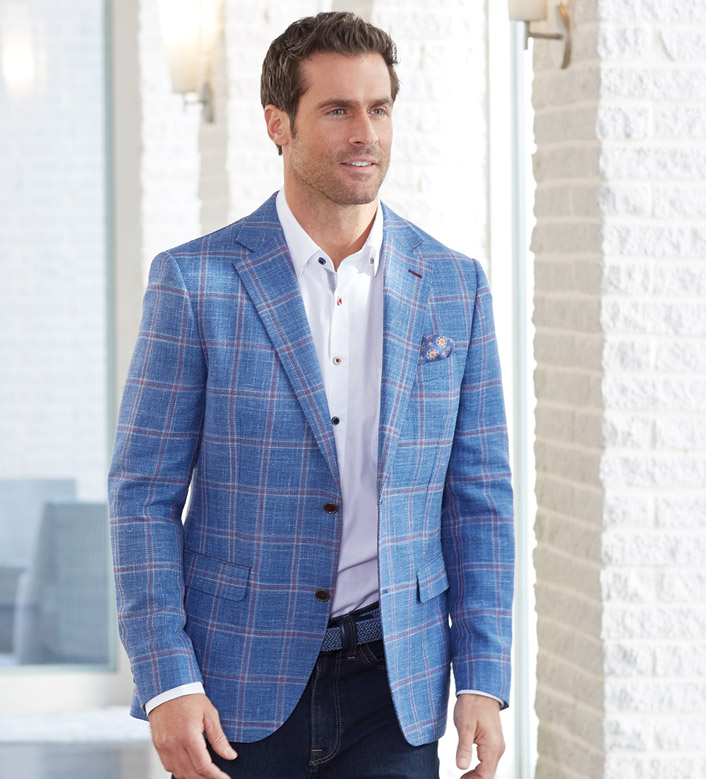 Patrick James Blue Windowpane Sport Coat