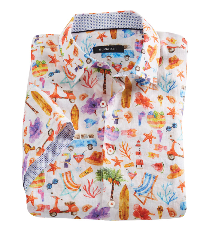 Bugatchi Uomo Summertime Beach Print Short Sleeve Sport Shirt