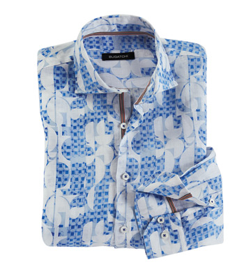 Geo Print Long Sleeve Linen Sport Shirt