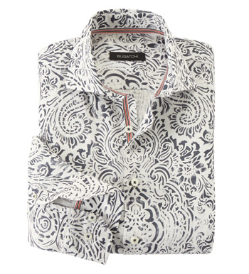 Paisley Linen Long Sleeve Sport Shirt