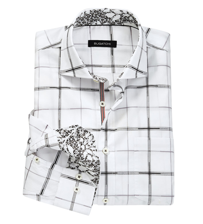 Bugatchi Uomo Windowpane Long Sleeve Sport Shirt