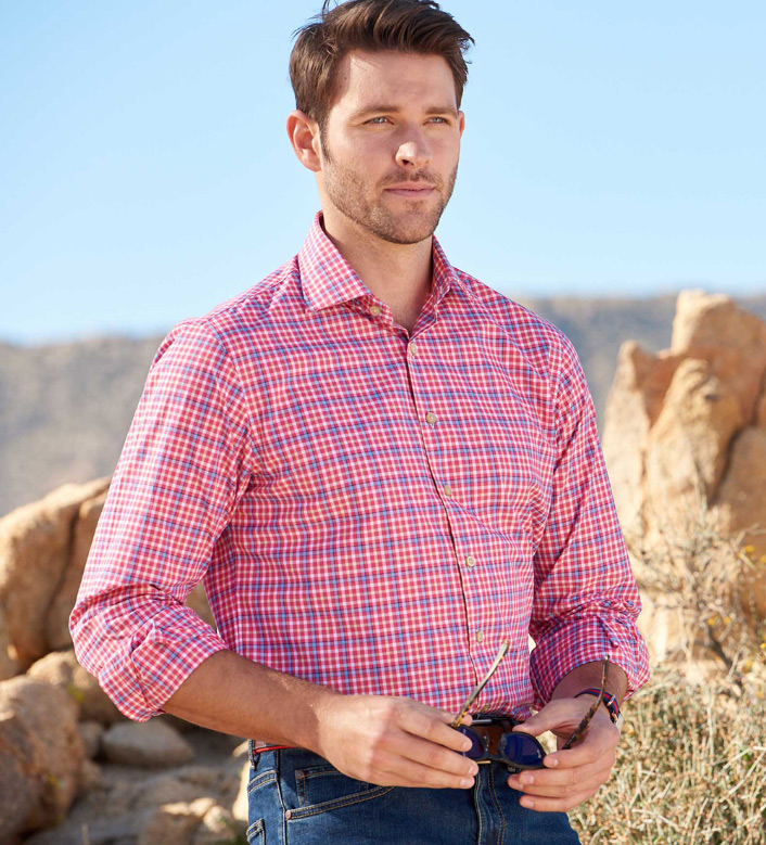 Scott Barber Windowpane Check Long Sleeve Sport Shirt