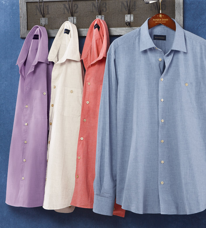 Scott Barber Melange Cotton Poplin Long Sleeve Sport Shirt
