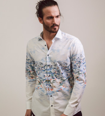 Oriental Scene Long Sleeve Sport Shirt