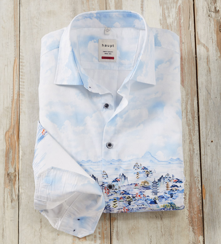 Patrick James Oriental Scene Long Sleeve Sport Shirt