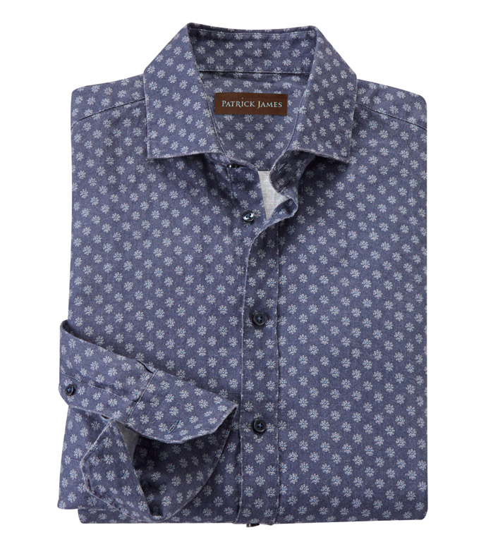 Patrick James Midnight Medallion Print Long Sleeve Sport Shirt