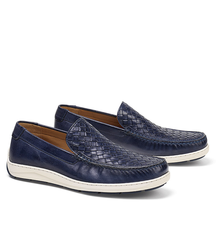 Trask Navy Silas Woven Slip-Ons