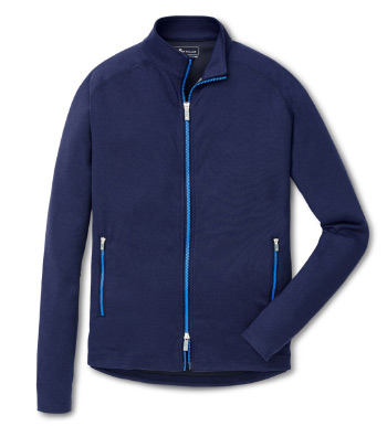 Navy Solid Chamonix Knit Power Jacket