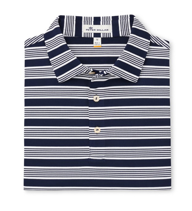 Peter Millar Tatton Stripe Print Performance Short Sleeve Polo Shirt