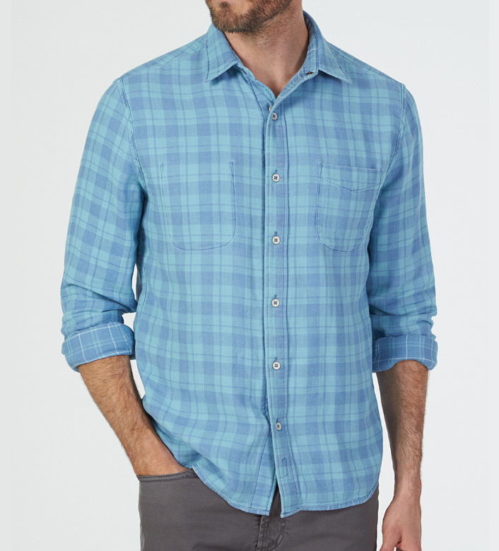 Faherty Belmar Reversible Plaid Long Sleeve Sport Shirt