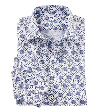 Blue Daisy Long Sleeve Sport Shirt
