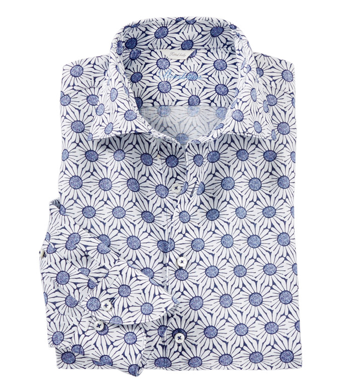 Stenstroms Blue Daisy Long Sleeve Sport Shirt