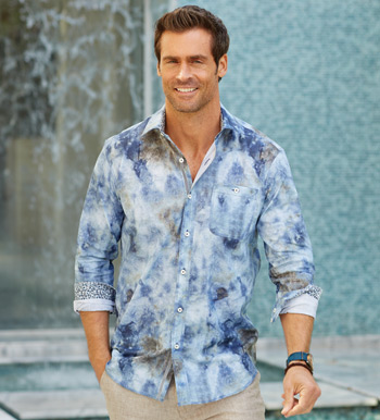 Tie-Dye Print Long Sleeve Sport Shirt